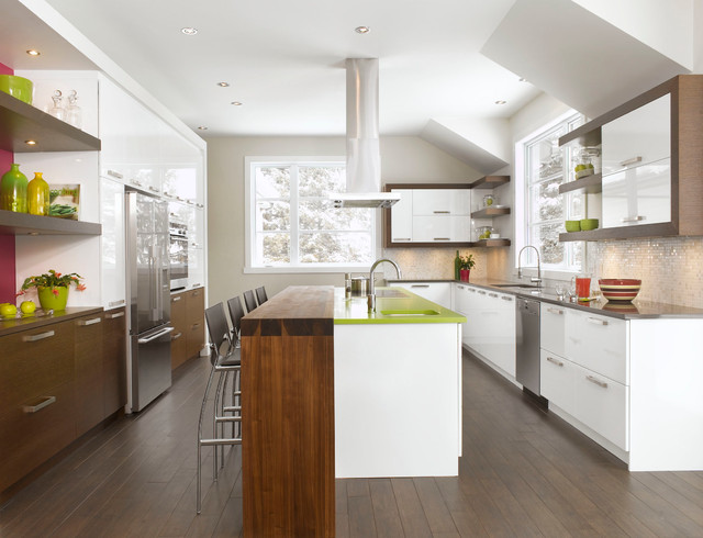 Wood finish laminates contemporary kitchen montreal for Armoire cuisine action