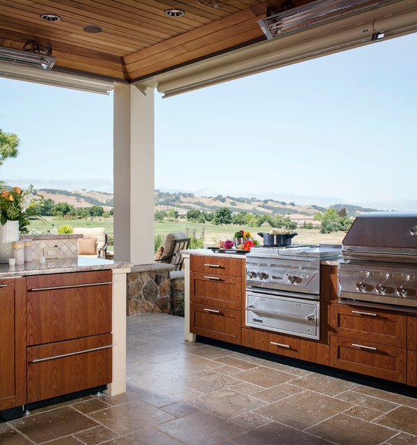 Wood-grain powder coat finish outdoor kitchen by Danver Stainless ...