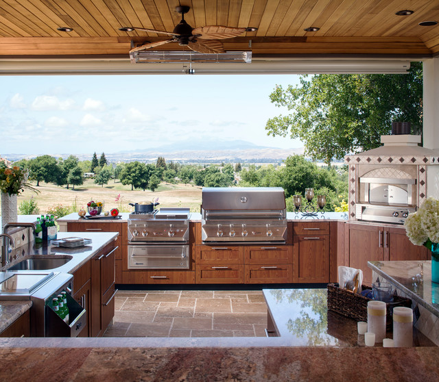 Contemporary Outdoor Kitchen: Wood-grain Powder Coat Finish Outdoor Kitchen By Danver