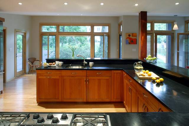 wood house modern-kitchen
