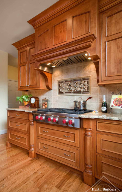 Wood Paneled Range and Cook Top traditional-kitchen