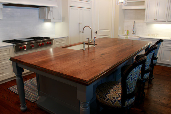 Custom Wood Kitchen Islands wooden kitchen island top - traditional - kitchen - atlanta -j