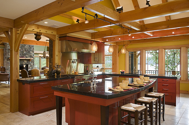 Peachy Woodhouse Timber Frame Home Contemporary Kitchen New York Inspirational Interior Design Netriciaus