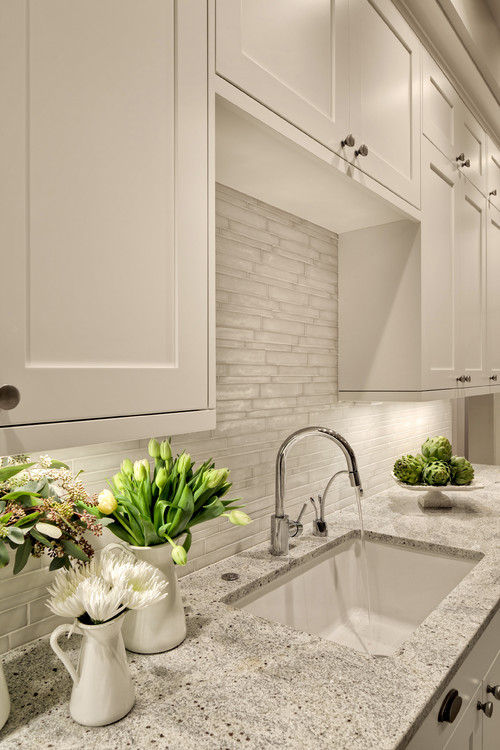 What Color Are The Cabinets? Is That Kashmir White Granite? And What Is The  Name Of The Fabulous Backsplash?