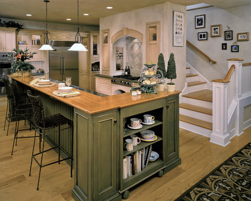 Are green cabinets painted or stained, also, the color and maker ...