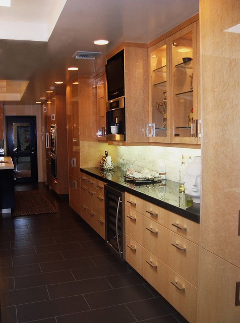 Woodmode bird 39 s eye maple display area with miele coffee for Birds eye maple kitchen cabinets