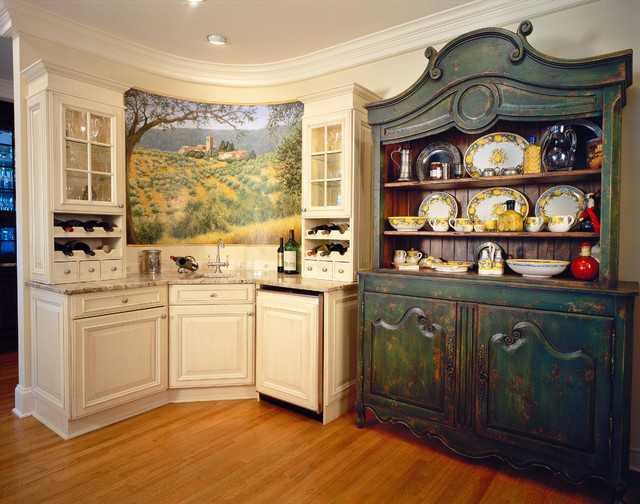 Example Of A Huge Cottage Chic U Shaped Medium Tone Wood Floor Enclosed  Kitchen Design