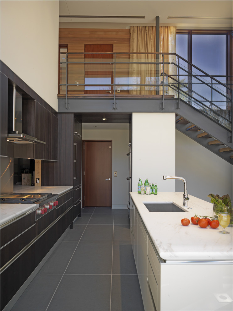 Example of a trendy galley kitchen design in Baltimore with a single-bowl sink, flat-panel cabinets, dark wood cabinets, metallic backsplash, metal backsplash and paneled appliances