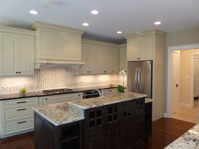 Example of a transitional kitchen design in Denver