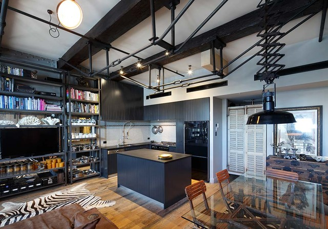 Eat In Kitchen Small Eclectic L Shaped Medium Tone Wood Floor
