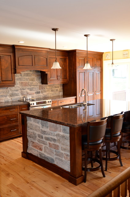 Wormy Maple Kitchen W Stone Rustic Kitchen Toronto