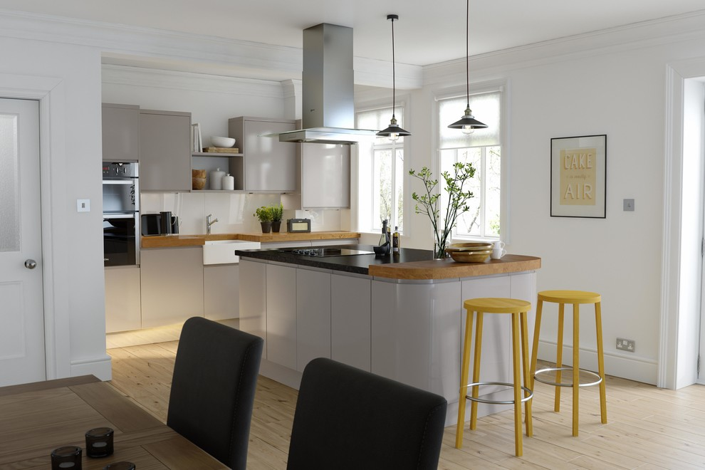 Wren Kitchens Handleless Cashmere Gloss Contemporary Kitchen Other By Wren Kitchens