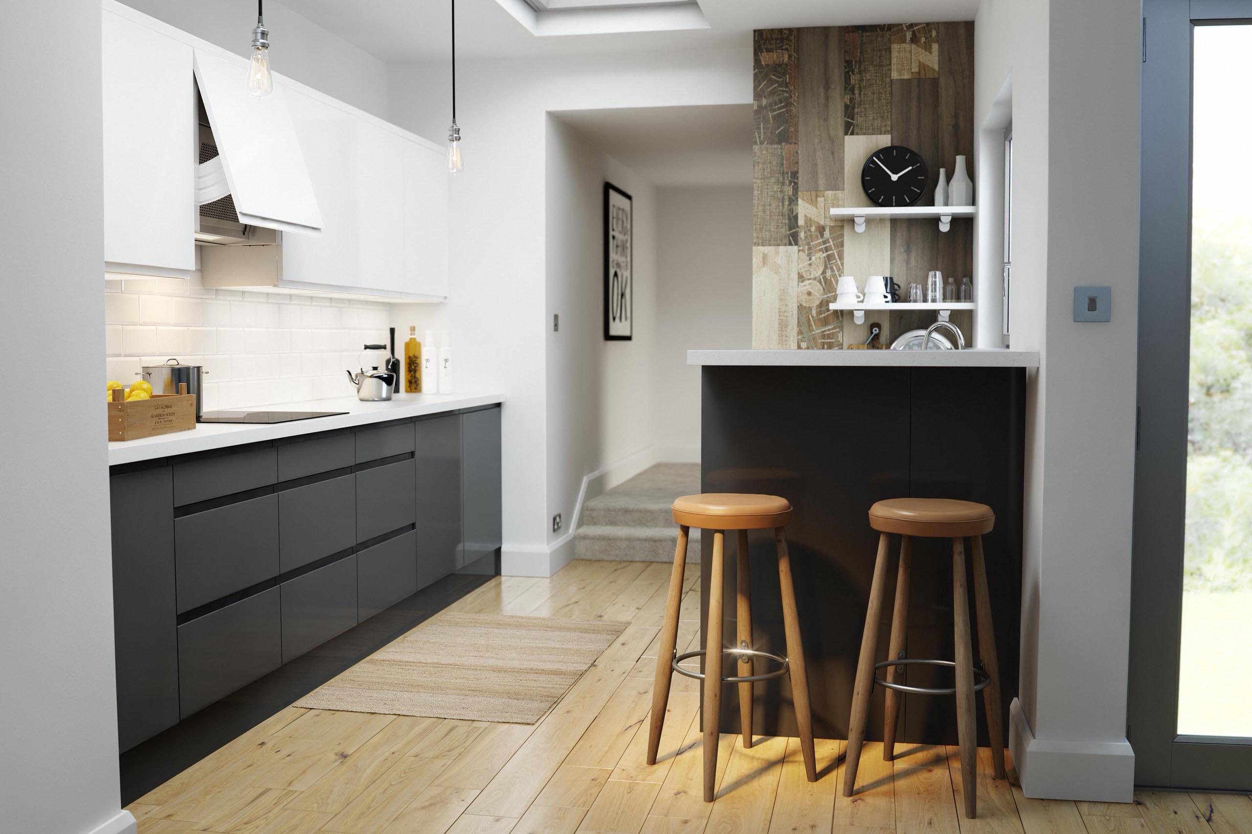 Wren Kitchens   Handleless Charcoal Gloss   Contemporary   Kitchen ...