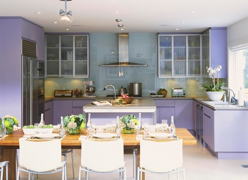 What is the color on the walls in this picture w lavender cabinets?