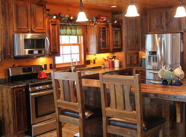 Yellow birch cabin rustic kitchen denver by for Rustic yellow kitchen
