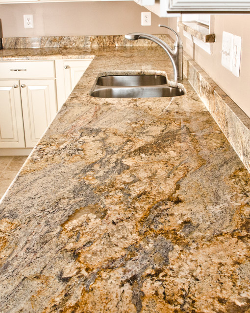 Yellow River Granite Bathroomstraditional Kitchen Dc Metro With White Cabinets