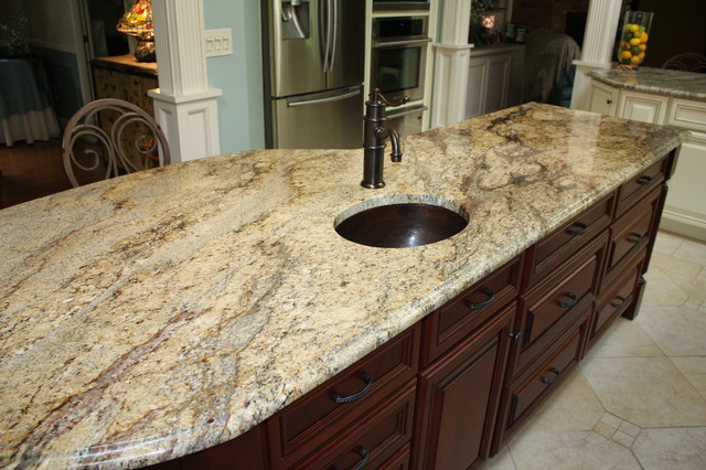 Beau Yellow River Granite Counter Tops   Traditional   Kitchen ...
