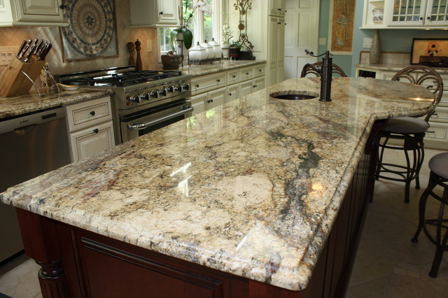 Genial Yellow River Granite Counter Tops Traditional Kitchen