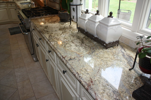 Superb Yellow River Granite Counter Tops Traditional Kitchen