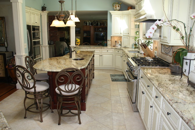 Yellow river granite counter tops traditional-kitchen