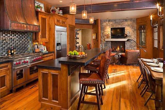 Yellow stone club estate for Rustic yellow kitchen