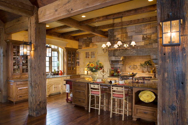 Yellowstone club residence rustic kitchen other for Holzchalet bauen
