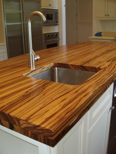 Zebra Wood Countertop   Brooks Custom Contemporary Kitchen