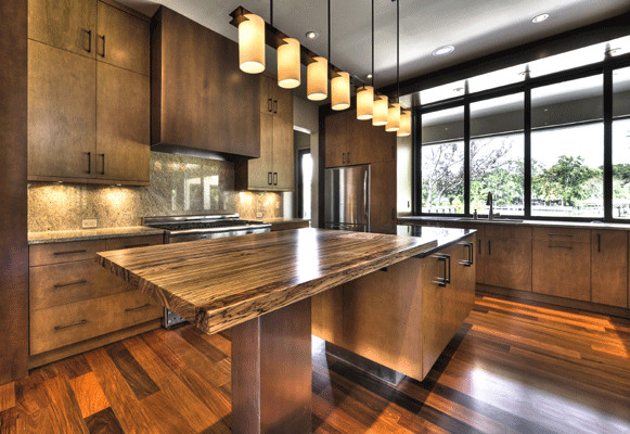 Transitional Medium Tone Wood Floor Eat In Kitchen Photo Atlanta With Flat Panel