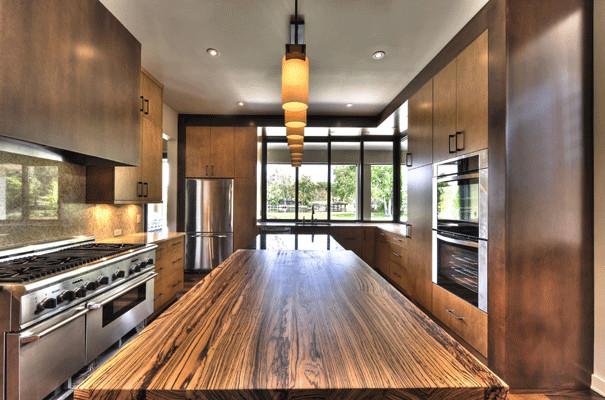 Zebra Wood Kitchen Island Kitchen Other Metro By J Aaron Custom Wood Countertops