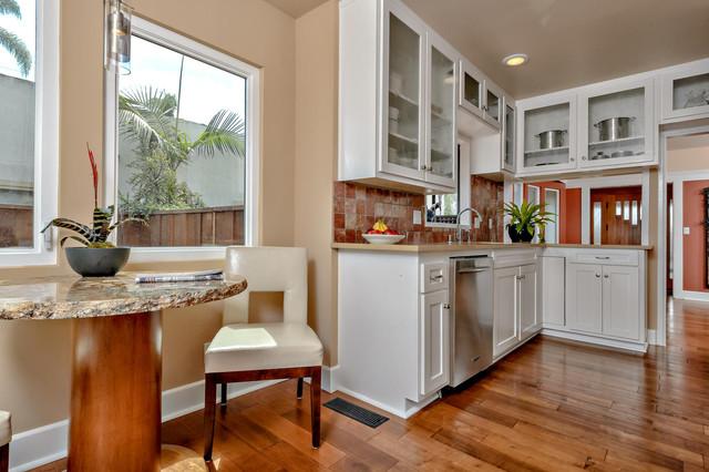 Attractive Kitchen   Mid Sized Craftsman Galley Medium Tone Wood Floor Kitchen Idea In  San Diego