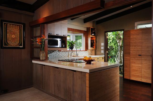 Zen kitchen island style exotique cuisine hawa for Cuisine zen