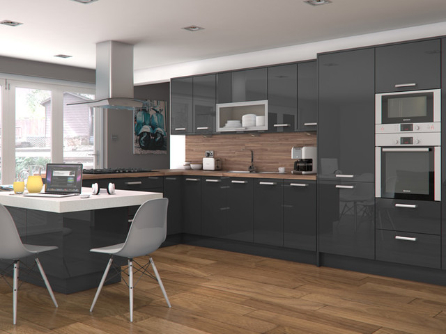 Zenit Mirror Gloss Slate Grey Modern Kitchen Other