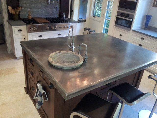 Zinc Island Counter Top After One Year Use Traditional Kitchen