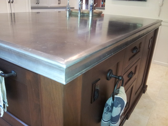 Zinc Island Counter Top Traditional Kitchen Los Angeles By Fine Design Fabrication