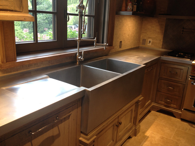 Zinc sink and countertop farmhouse kitchen other for Kitchen zinc design