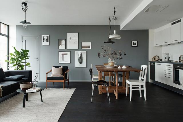 Foto de cocina escandinava, de tamaño medio, con suelo de madera pintada
