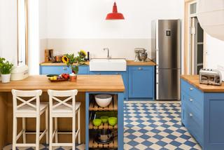 blaue shaker k che landhausstil k che k ln von. Black Bedroom Furniture Sets. Home Design Ideas