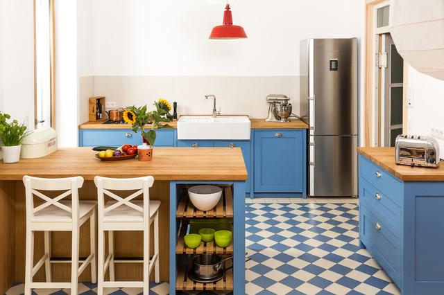 Landhausstil kuche blau