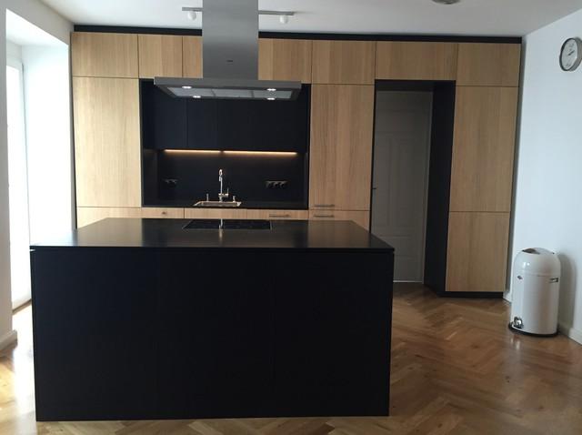 Eiche und schwarzes MDF für Ikea Metod - Modern - Küche - München ...
