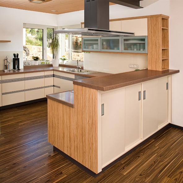 Einbauküche, Holzart: Olive, kombiniert mit Lackfronten,