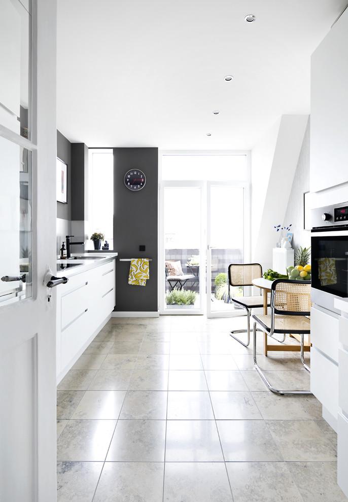 厨房白色地板砖北欧风格装潢效果图