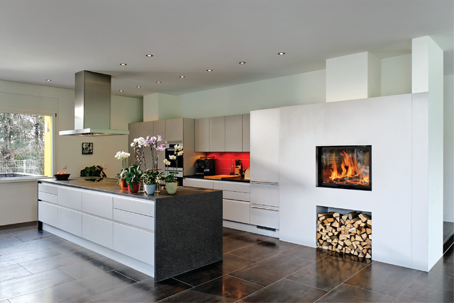 Kamin mit feuerholzstauraum   contemporary   kitchen   munich   by ...
