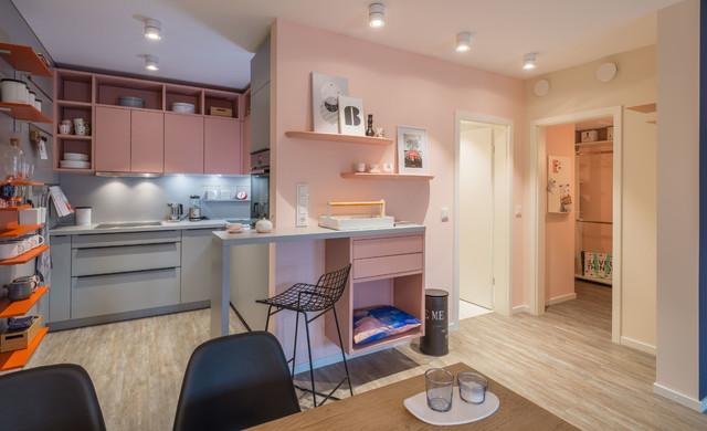 Kleine offene Küche in modernen Farben - Modern - Küche ...