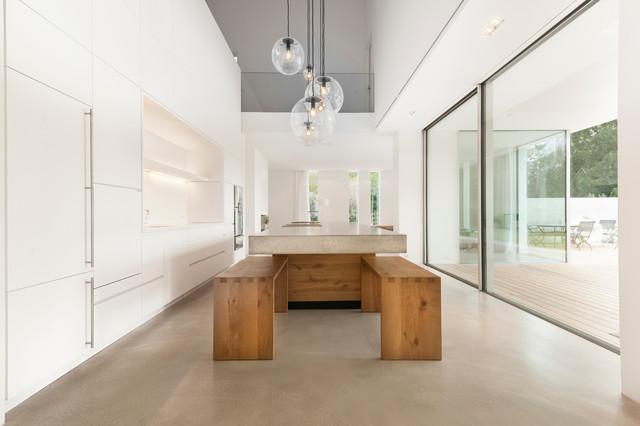 Küche Beton Eiche W Modern Kueche
