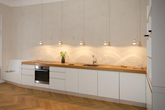 Küche in eiche und birke multiplex melaminbeschichtet