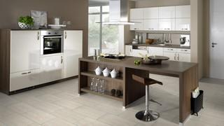 küche mit travertine bodenbelag aus klick-vinyl fliesen wineo 600