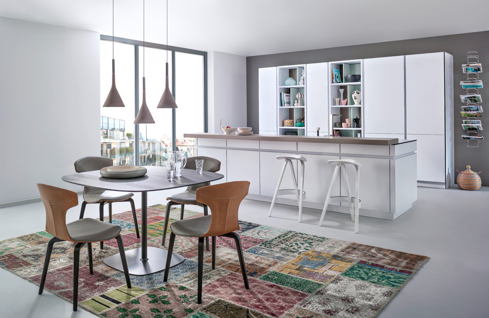 Inspiration for a large modern eat-in kitchen remodel in Stuttgart with open cabinets, white cabinets and an island