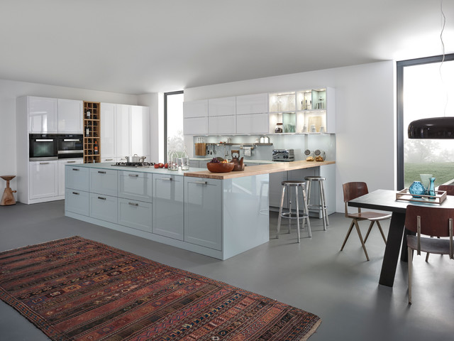 Large Trendy Open Concept Kitchen Photo In Stuttgart With Shaker Cabinets,  Blue Cabinets, Blue