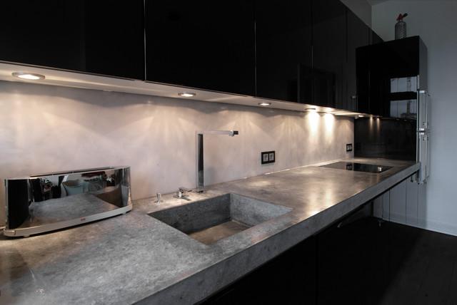 Marmor Kuche Mit Beton Wand Minimalistisch Design