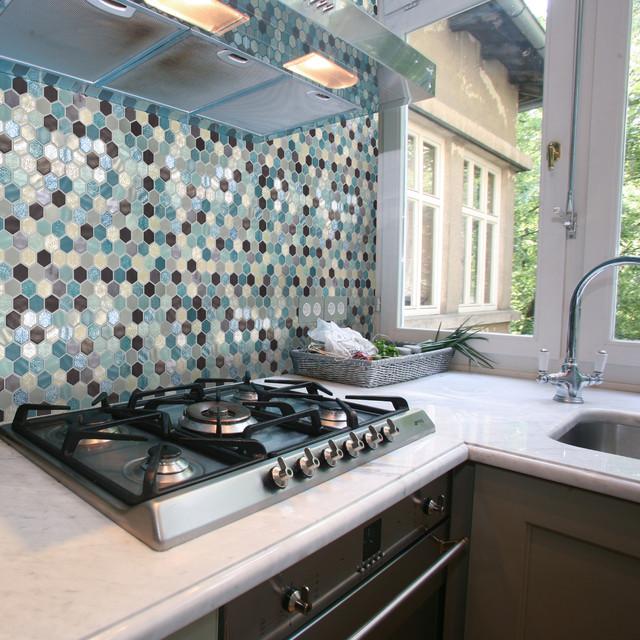 Mosaikfliesen Wabenoptik Glasmosaik